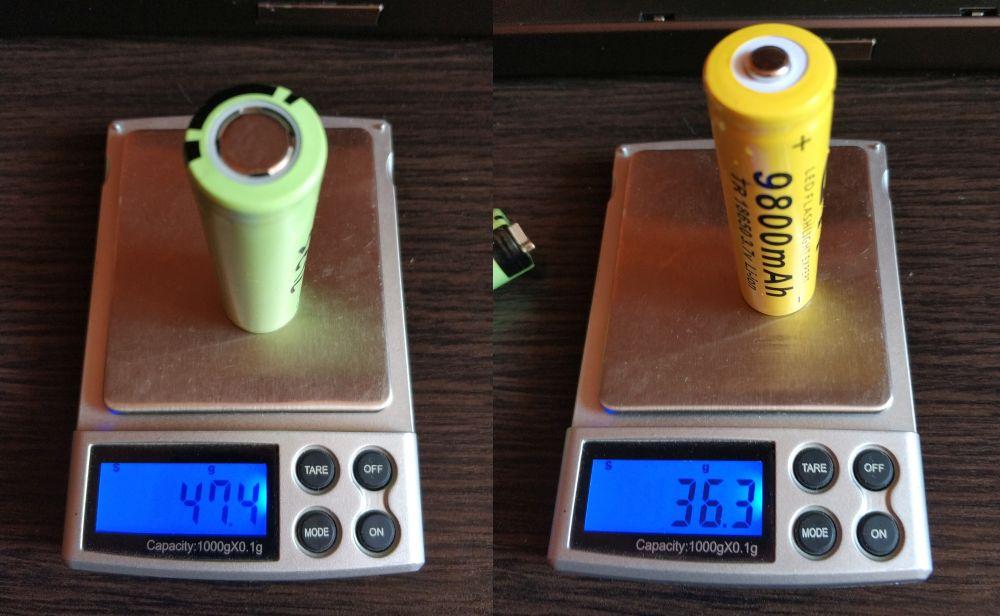 Сравнение по весу NCR18650B-3-7-v-3400